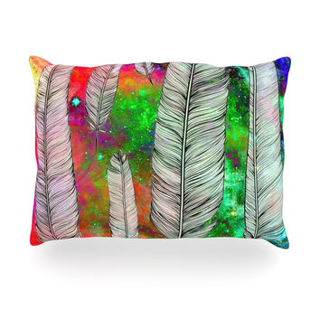 """Suzanne Carter """"Feather"""" Rainbow Space Oblong Pillow"""
