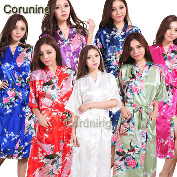 S1686  New Women Satin Kimono Robes Floral Bridesmaids Robe  Solid Bride Robe Long Kimono Robe Dressing Gown Bridal Party Gift