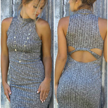 East Of Eden Gray Mock Bodycon Sweater Dress
