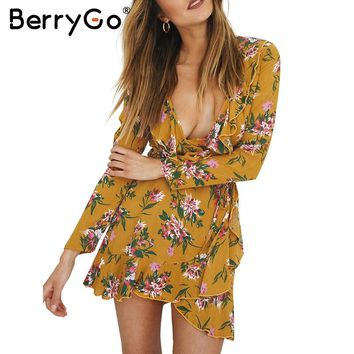 BerryGo Ruffle floral print wrap dress women Sexy v neck mini dress long sleeve autumn dress Female streetwear beach vestidos
