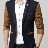 Polka Dot Pocket Color Block Lapel Long Sleeves Blazer