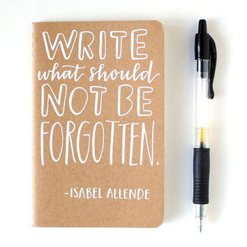 Small Notebook // Isabel Allende Quote Hand by EmDashPaperCo
