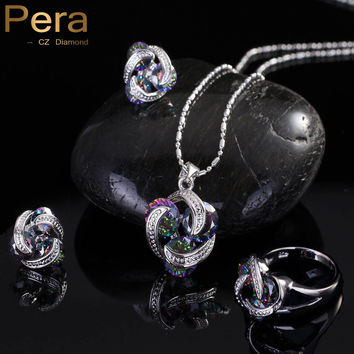 925 Sterling Silver Crystal Stone Jewelry Set