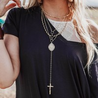 Virgin Mary Rosary Choker Necklace - Gold