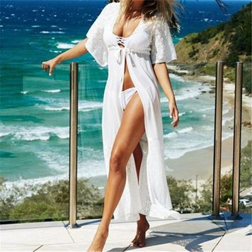 2018 Beach Outings Cover up Chiffon Lace Robe Plage White Black Kaftan Dress Pareos For Women Beach Tunic Sarong Cover ups