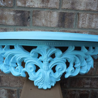 Vintage Shelf upcycled crown turquoise resin kitsch home decor