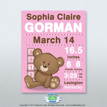 Baby Birth Announcement Print Personalized Teddy Bear Blocks nursery kids art 8x10