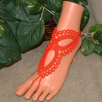Crochet Persimmon Trinity Barefoot Sandals, Wedding Bridal Shoes Accessories, Infinity, Anklet, Footless, Bottomless, Footwear, Beachwear