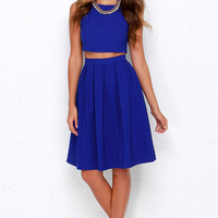 Splendidly Spry Royal Blue Two-Piece Midi Dress