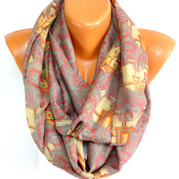 Womens Scarf, Ladies Shawl, Elephant Printed Scarf, Elephant Shawl, infinity Scarf, Lightweight Summer Scarf, Gift for Christmas, for Mother