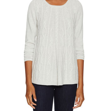 Elorie Women's Cashmere Cable Swing Sweater - Light/Pastel Grey -