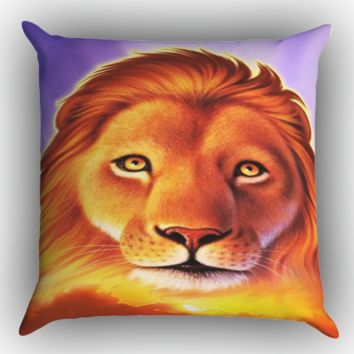 lion king ART Y1413 Zippered Pillows  Covers 16x16, 18x18, 20x20 Inches