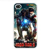 2013 Ron Man 3 Little Robert Downey Jr. Fashion Design Hard Case Cover Skin Protector for Iphone 4 4s Iphone4 At & T Sprint Verizon Retail Packing (White Pc + Pearlescent Aluminum) Fs-00265