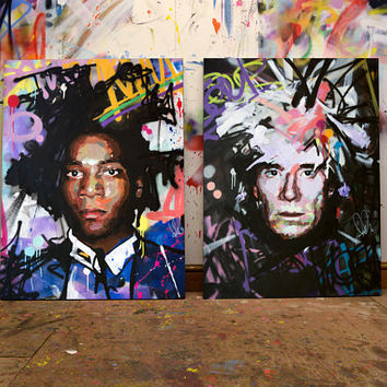 "Jean-Michel Basquiat & Andy Warhol, Original Painting, 40"" (x2), Portrait, Pop Art, Graffiti, Street Art, New York, Richard Day"