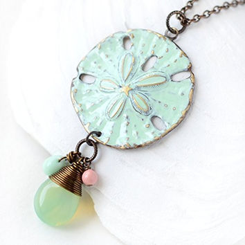 Green Sand Dollar Pendant Necklace, 24 inches