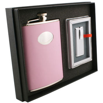 Visol Daydream Pink Leather 8oz Flask & Lighter Gift Set