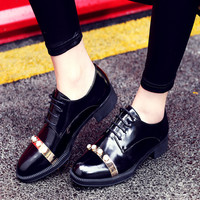 England Style Vintage Leather Low-cut With Heel Round-toe Shoes [4920566468]