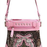 * Pink Western Cowgirl Camouflage Print Gun Deco Messenger Bag  M