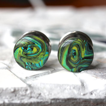 """5/8"""" Gauges, Polymer Clay Plugs, Clay Gauges, Resin Tunnels, Double Flare, Modified Ears - size 5/8"""" (16mm)"""