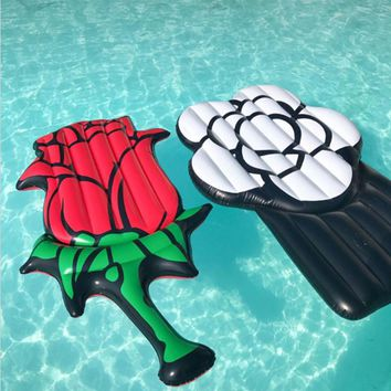 2 Colors Giant Inflatable Red White Rose Pool Float Swimming Ring Inflatable Flower Air Mattress Beach Mat Summer Water Fun Toys