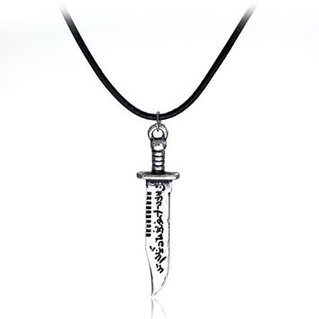 dongsheng Supernatural Knife Charm Necklace Angel Knife Leather Rope Necklace Vintage Silver Color Alloy Pendant Necklace