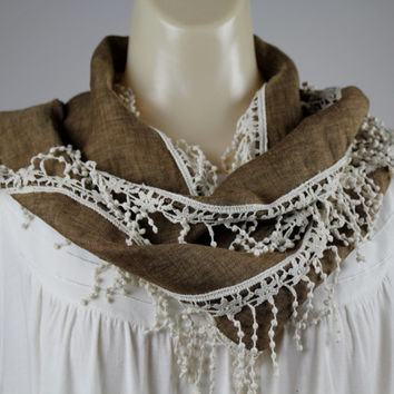 Boho Caramel Linen Necklace Scarf with Fringe Lace, Narrow Long Scarf - Women Gift Idea - Fashion Accessory - Brown and Natural