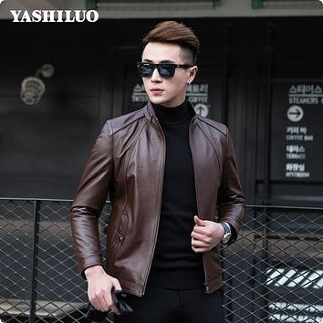 2017 New Arrival Autumn Mens Casual Sheepskin Genuine Leather Jackets Fashion Coat For Male Motorcycle Blouson Cuir Homme