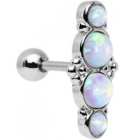 "16 Gauge 1/4"" White Synthetic Opal Ornate Quartet Cartilage Earring"