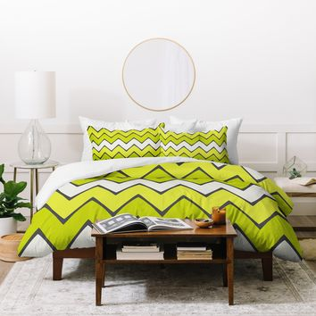 Holli Zollinger Lime Chevron Ombre Duvet Cover