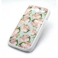 WHITE Snap On Case Samsung Galaxy S3 SIII i9300 S 3 III Plastic Cover - POLKA DOT PINK ROSE floral flowers cute girly pattern