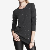RELAXED EMBELLISHED TUNIC SWEATER