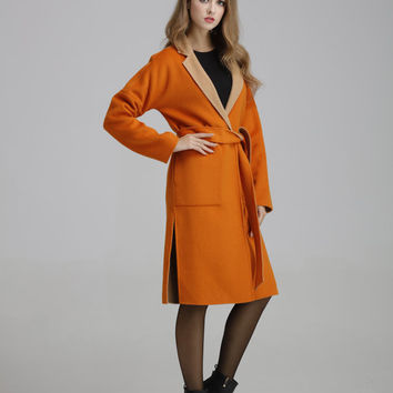 Orange wool coat women,Wool coat fabric,Wool coat hood, Wool coat ,Wool coat small,Double breasted coat ,Womens winter coat,0916009