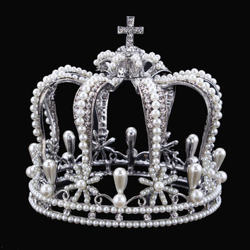 Luxury Vintage Silver Color Rhinestone Simulated Pearl Wedding Crown Alloy Bridal Tiara Baroque Queen King Crown
