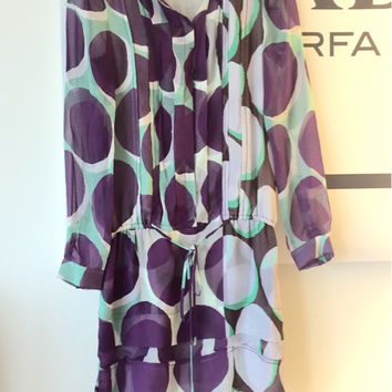 Dvf Purple Polka Dot Button Silk Dress Xs/0 (Diane von Furstenberg)