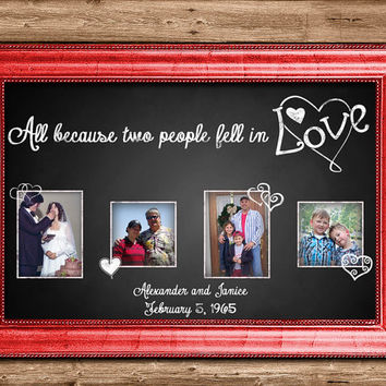Personalised Print Romantic Gift - Chalk All Because Two People Fell In Love - Wedding Anniversary Gift - Valentine's Day Gift for Her Wife