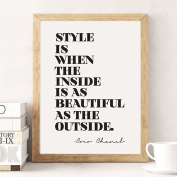 Coco Chanel Print, Typography Poster, Coco Chanel Quote, Inspirational Poster, Wall Decor, Motivational Quote, Bedroom Print, Fashion Print,