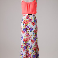 Neon Floral Maxi Dress - Coral