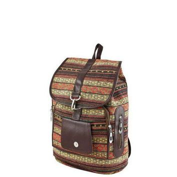 CREY78W Red Tribal Print Backpack