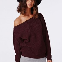 Missguided - Ophelita Off Shoulder Jumper Wine