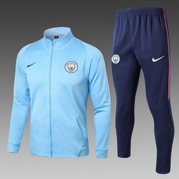 KUYOU Manchester City 2017/18 Light Blue Men Jacket Tracksuit Slim Fit