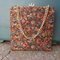 40s Gold Floral Fabric Purse by Palizzio Very New York w/ Mirror and Matching Change Pouch // Vintage Handbag