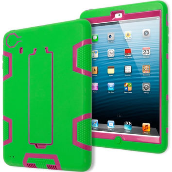 iPad Mini 1, 2, 3 Retina Hybrid Neon Green & Hot Pink Tron Stand Case Cover