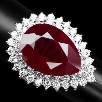 Vintage 18CT Pear Cut Red Ruby Double Halo White Sapphire Ring