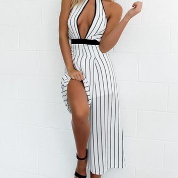 Striped Open Front Full Length Printed Casual Romper