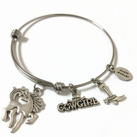 Cowgirl Expandable Bracelet Cowgirl Stacking Bracelet Horse Charm Bangle Expandable Bangle Horse Adjustable Wire Bangle Bracelet (SP21)