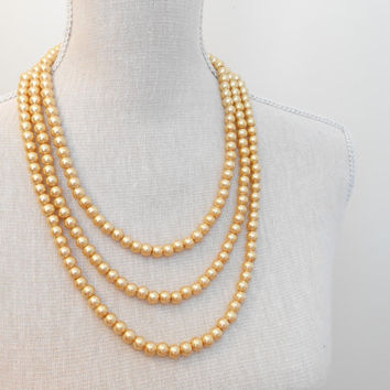 Handmade multi strand statement gold pearl necklace, elegant jewelry, perfect for wedding, Mother of the Bride, bridal shower gifts