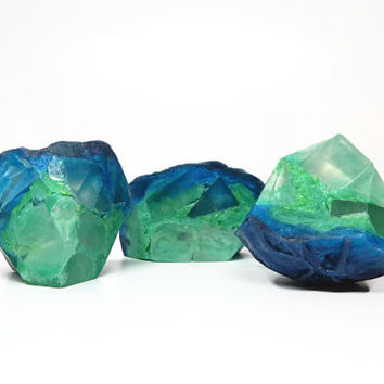 Azurite Geode Shaped Soap Set in Basil, Sage & Mint