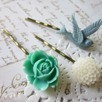 Vintage Cameo Hair Pins Mint Blue & White Flower by DubiousDesign