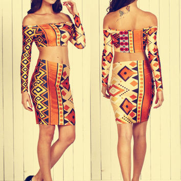 Geometric Print Off Shoulder Cropped Top and Skirt Set