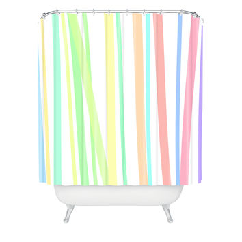 Lisa Argyropoulos Pastel Rainbow Stripes Shower Curtain